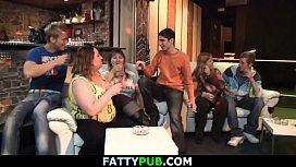 Chubby party girl gets naked in the bbw bar