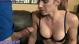 Blonde mom gets mouthful...