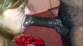 Deepthroat granny loves black...