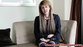 Ladyboy schoolgirl facialized after...