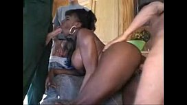 Sexy black milf with heels gets her pussy banged by many white guys