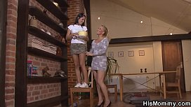 Lesbian blonde mom seduces...