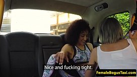 Inked cabbie pussylicked by lesbian beauty