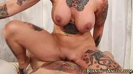 Tattooed pinup gets anal