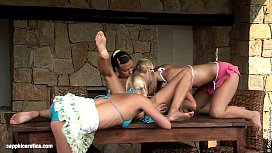 Lesbian threesome action on...