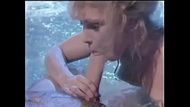 Classic hairy blond gives blowjob in jacuzzi then gets pussy fucked and creamed