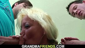Hairy granny teacher and boys teen