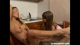 Tempting lesbo teens lick...