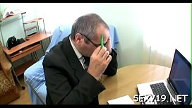 Lewd old teacher is humping babe'_s taut anal tunnel