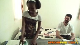 Young African teen working...