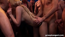Mature German whores suck and fuck a bunch of dicks