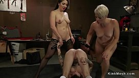 Two lesbians whipping brunettes ass
