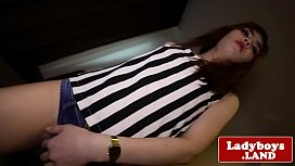Solo ladyboy jerking out...