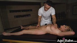 Amy lets Mugur massage every part of   her milf body