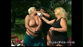 The grannies fumble outdoors...