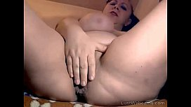 Big titted chubby MILF masturbates on webcam