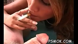 Inviting busty hottie reading and smokin'_ with her friend