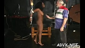 Coarse flogging and harsh bondage on woman'_s pussy
