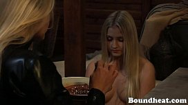 Blonde mistress feeds her...