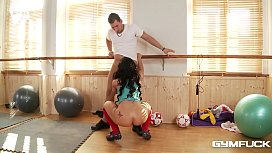 Busty Gym Babe Kyra Hot Gets A Titty Fucking Workout With Her Trainer