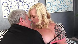 Chubby blonde gets her...