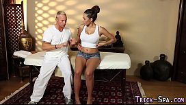 Fooled ebony massage jizz...