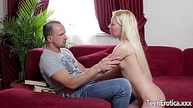 Beautiful young blonde takes...