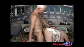 Nasty old couple fuck on bed