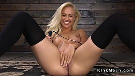 Blonde in stockings anal...
