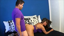 Latina gets drilled from the back infront of her man