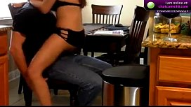 Kitchen lap dance turns into hard squirting on cam