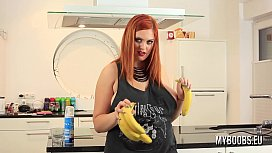 Busty Alexsis Faye housewife in kitchen play with banana and cream