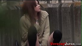 Asian babe spied toying