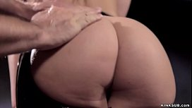 Strapped hairy brunette fucked