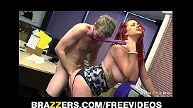 Busty redhead secretary is slammed by the biggest dick she's had xxx video