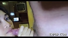 Asian girl with a smooth hairy love tunnel enjoys amazing licking