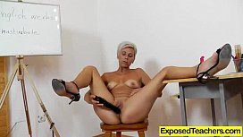 Blond Cougar riding a plastic cock