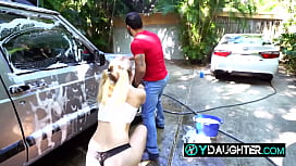 Daddy'_s friend is seduced by horny daughter as he'_s washing the car