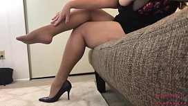 Sexy BBW in Pantyhose Takes off her heels then Strips and Plays