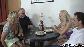Dinner with his olds leads to threesome