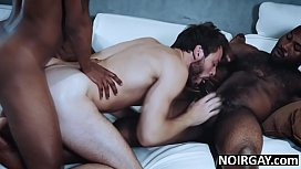 Black gay stepbrothers fuck white guy in threesome