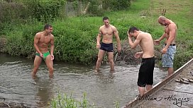 Foursome bareback fun out...