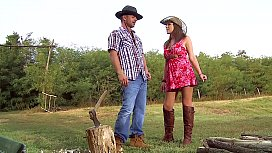Busty Farm Girl Ass Fucked in Pretty Summer Dress & Leather Boots. Outdoor Anal Sex / ATM in Natural Backwoods Setting