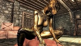 Female argonian gets laid...