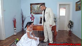 Gorgeous bride dominated after...