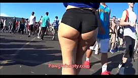 Thick Pawg Walking In Shorts