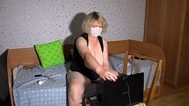 Anal-vaginal-clitoral masturbation in front of a webcam. A mature housewife in a sex chat shows big tits, juicy PAWG, hairy pussy and fucks with a dildo. BBW homemade fetish.