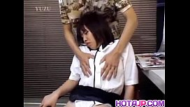 Chiharu Okuna gets fingers in licked cunt