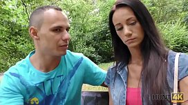 HUNT4K. Girl has lost money so she earns it by making her BF cuckold