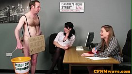 Office babes stroking dick...